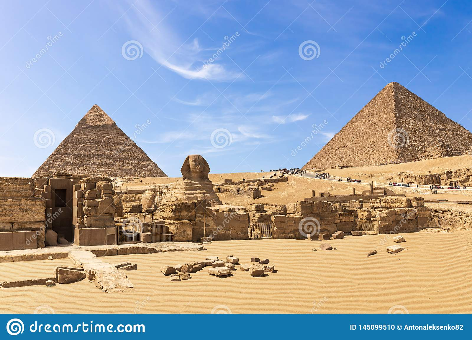 The Great Pyramids of Giza complex: the Sphinx, the Pyramid of Chephren, the temple and the Pyramid of Cheops, Egypt