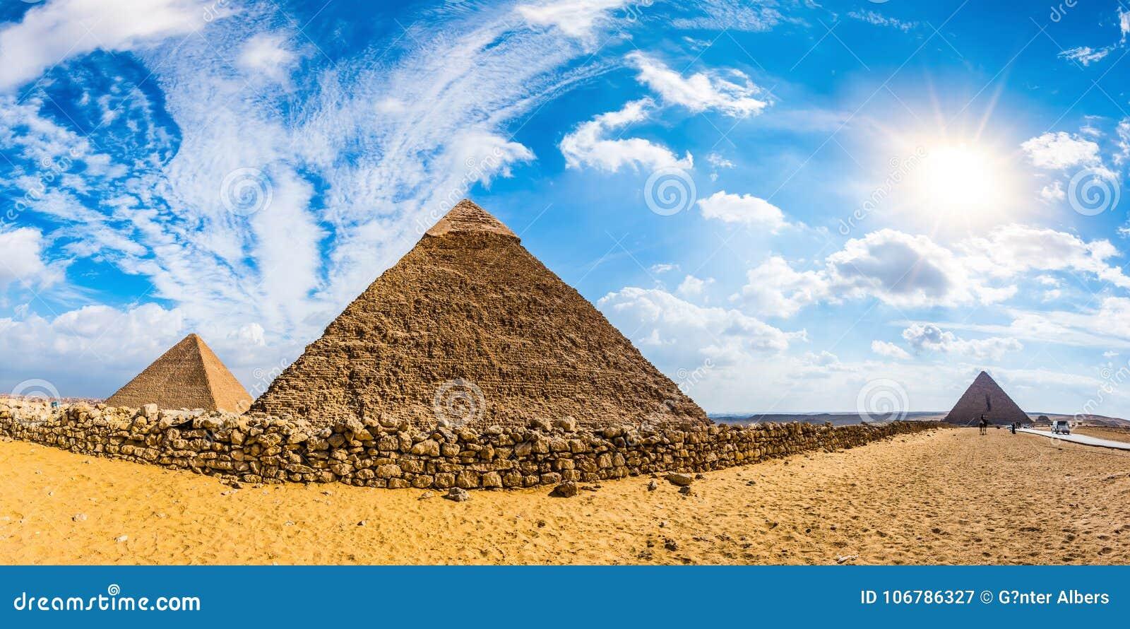The Great Pyramids Of Giza, Egypt Stock Image - Image of fisheye