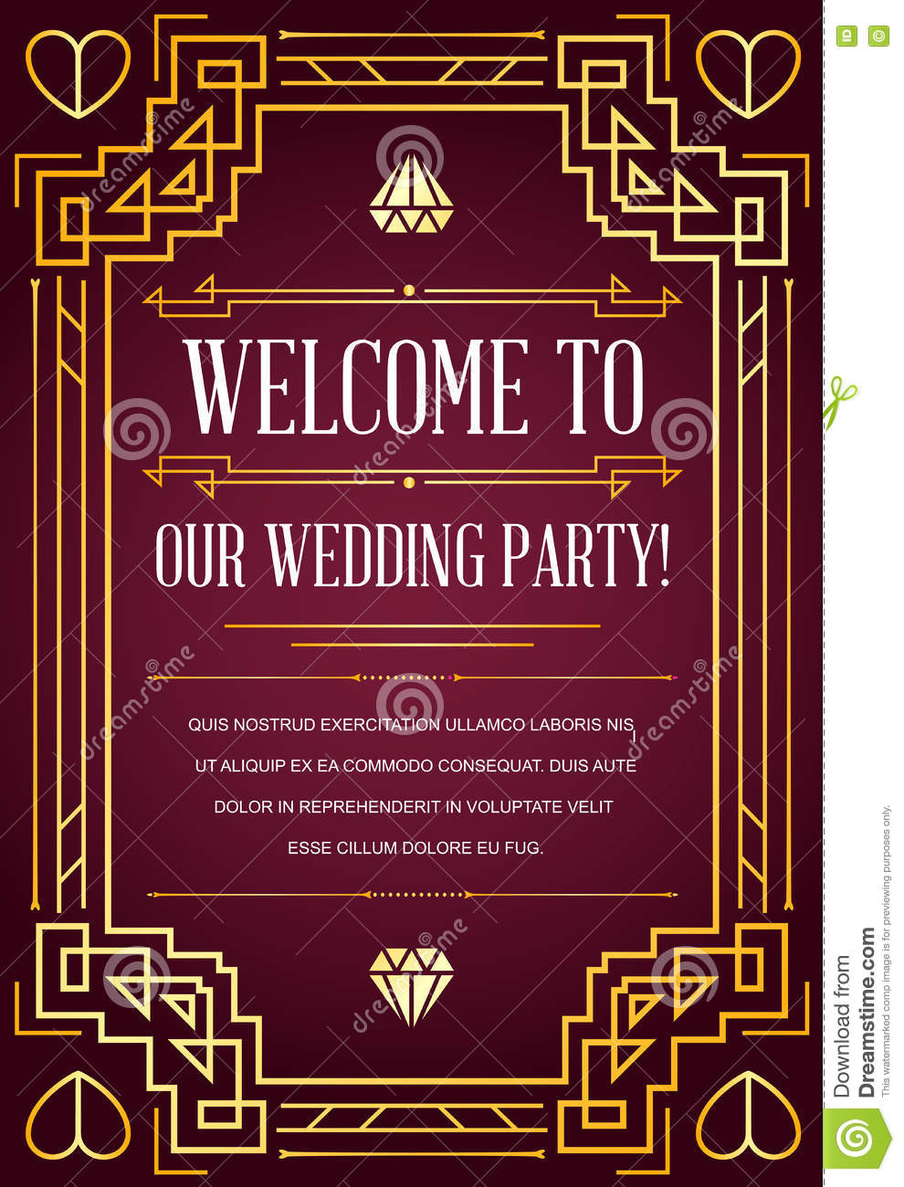 Great Quality Style Invitation In Art Deco Or Nouveau Epoch Stock ...