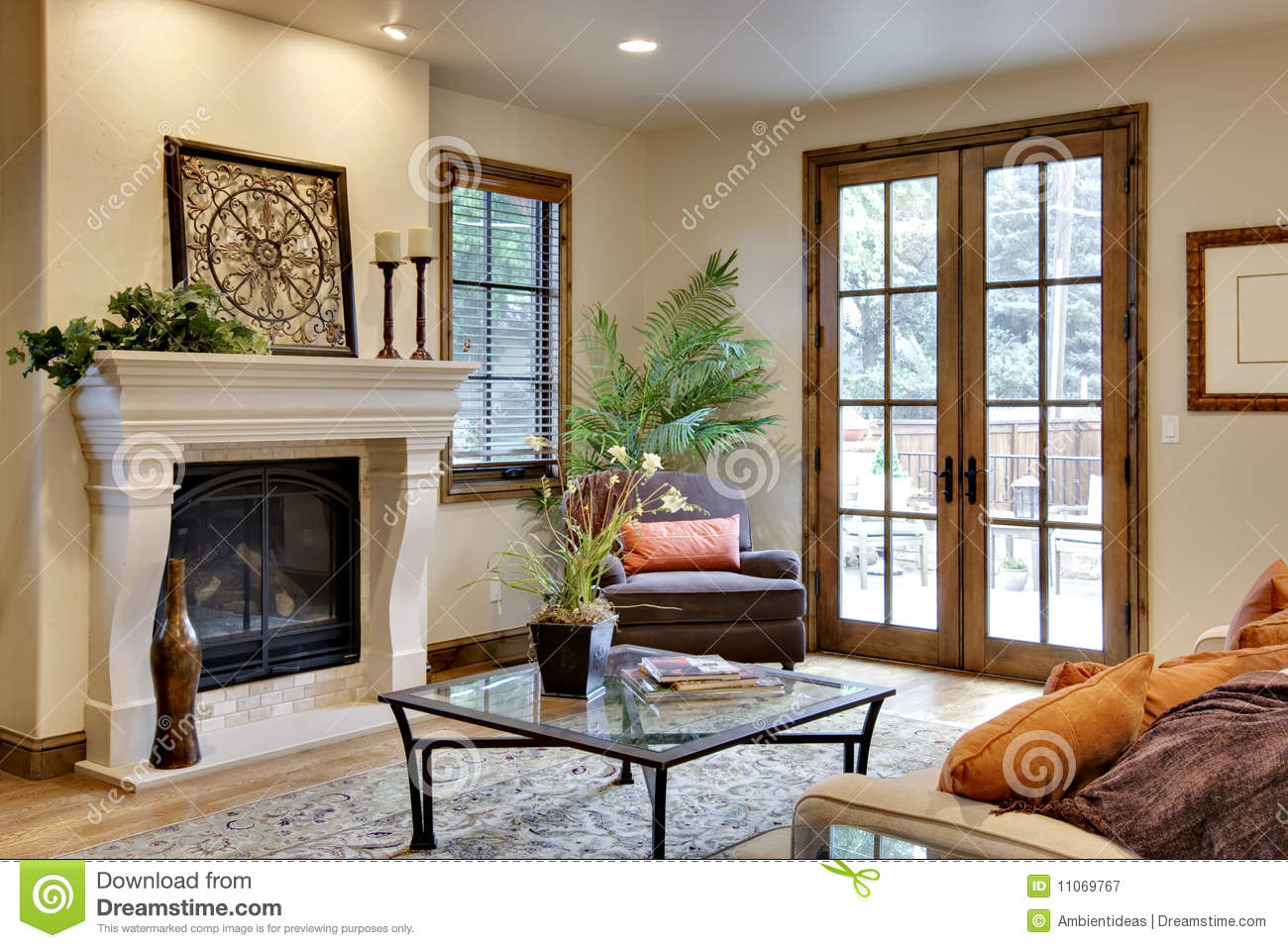 Great Room With Fireplace And French Doors Stock Image