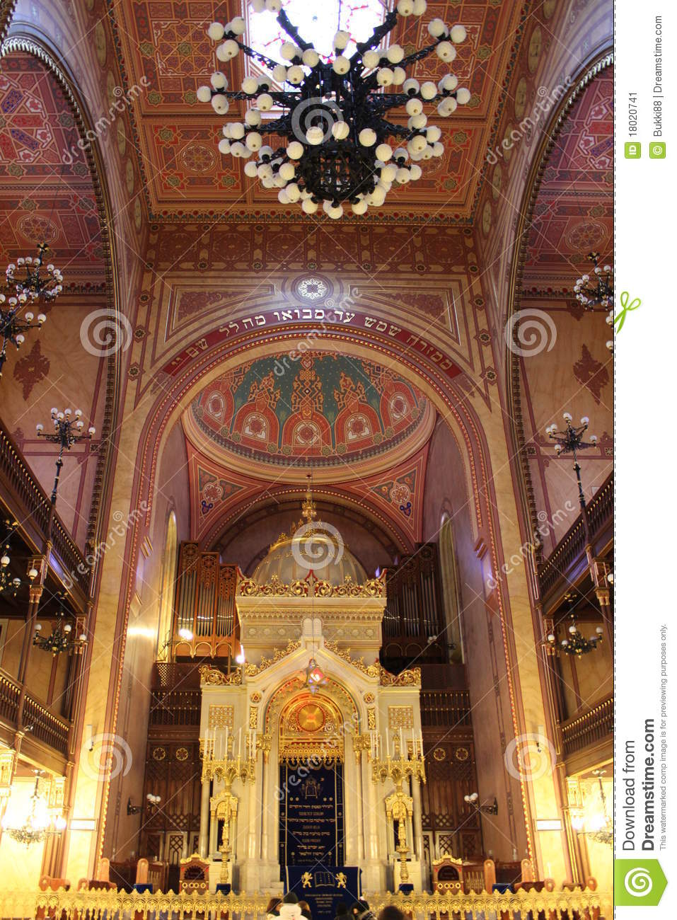 Download Great Synagogue Of Budapest Stock Image - Image of hebraism, interior: 18020741