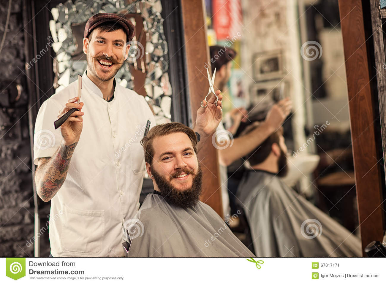 Barber Time : Great Time At Barbershop With Barber Stock Photo - Image: 67017171