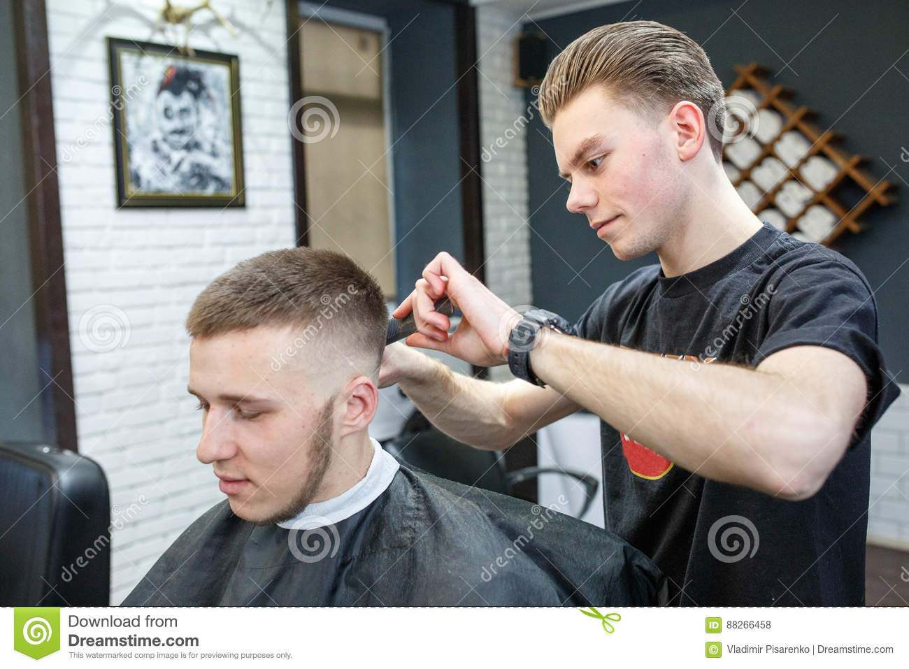 Admirable Great Time At Barbershop Cheerful Young Bearded Man Getting Natural Hairstyles Runnerswayorg