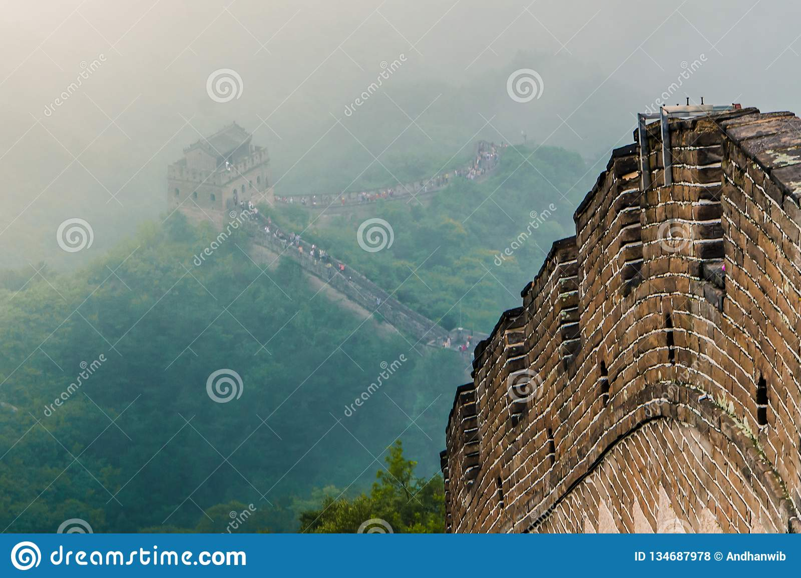 Great Wall of China through the Mist