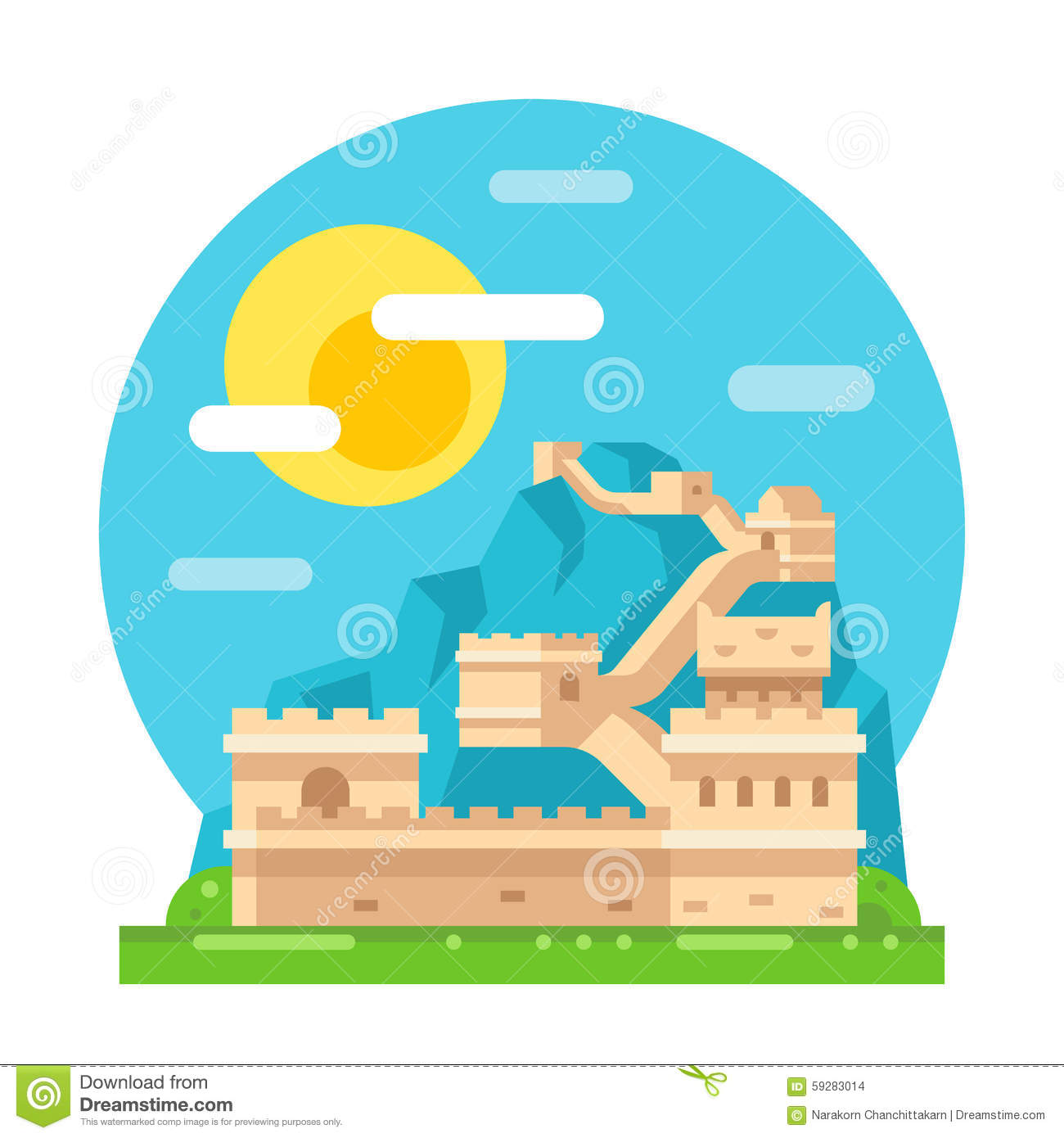 Wall Design Clipart : Great wall of china flat design stock vector image