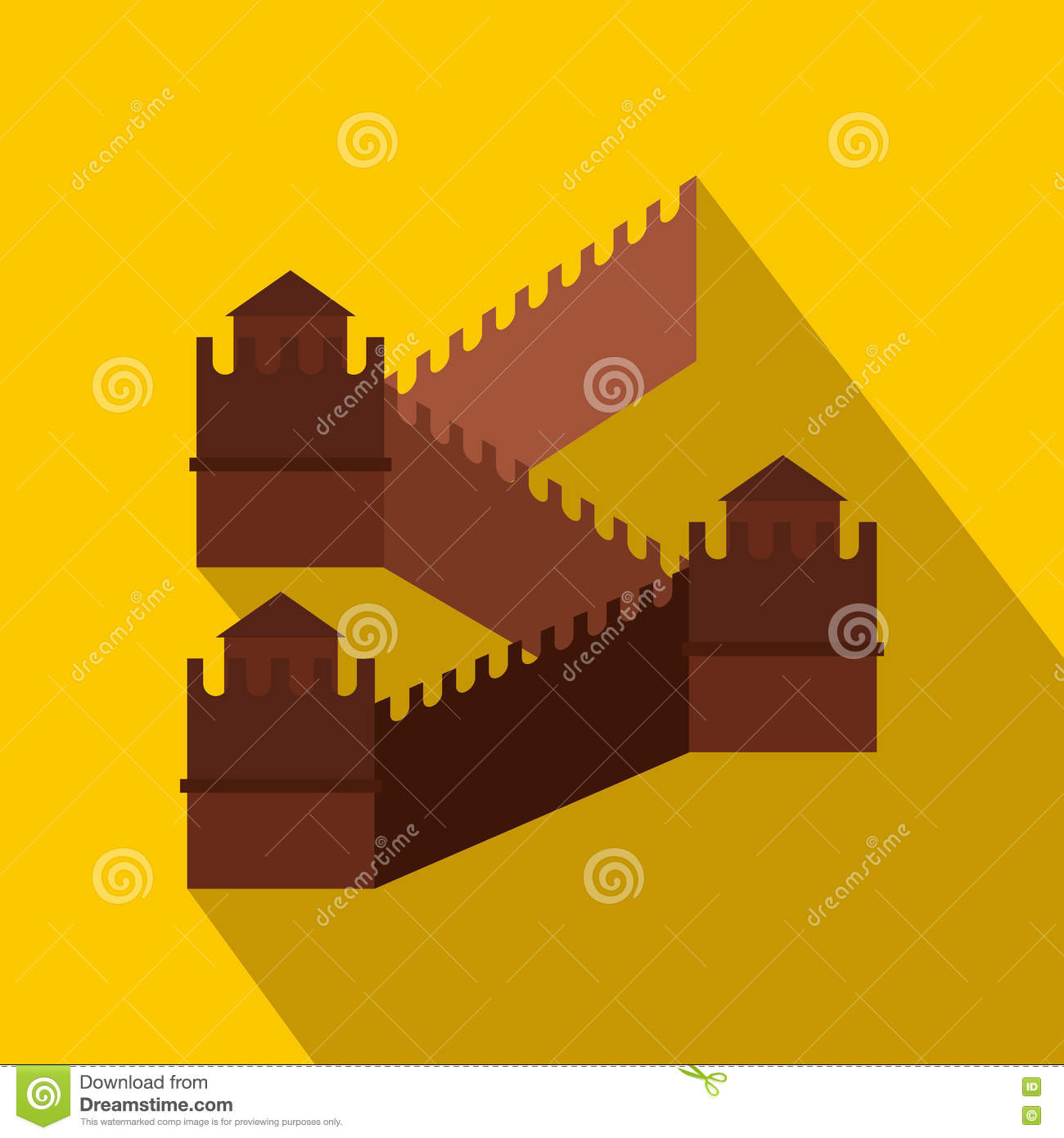 Great Wall of China icon, flat style