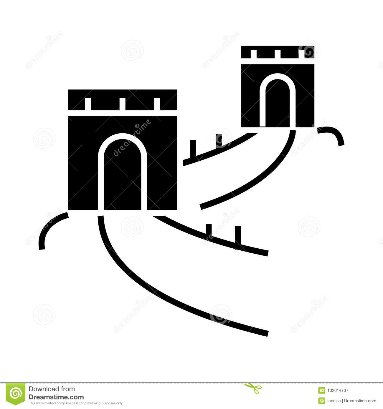 Great Wall China Icon Vector Illustration Black Sign On Isolated