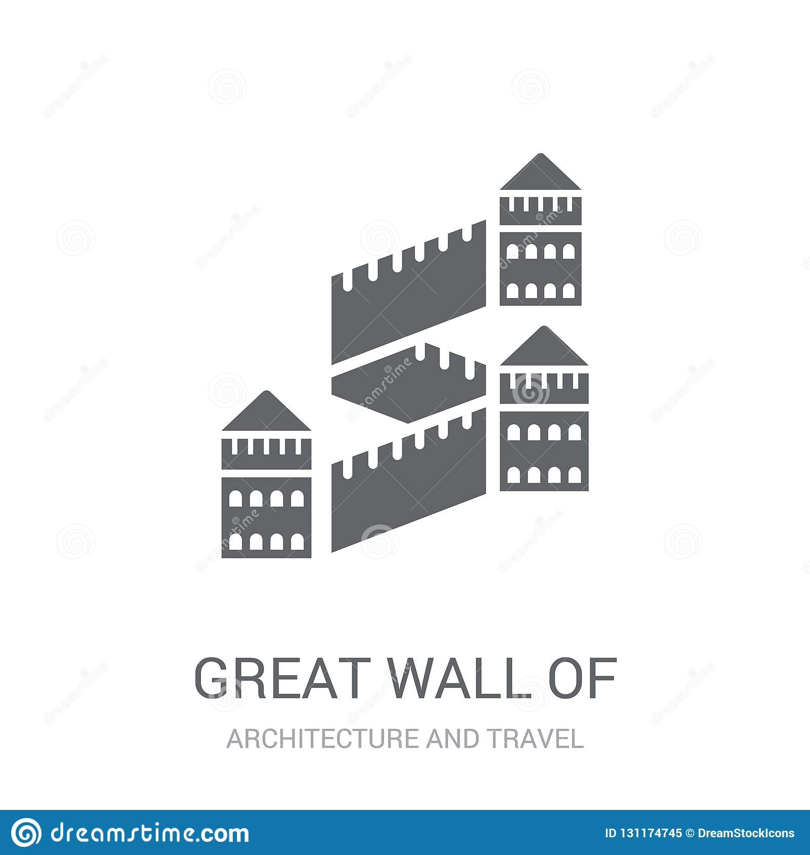 Great wall of china icon. Trendy Great wall of china logo concept on white background from Architecture and Travel collection
