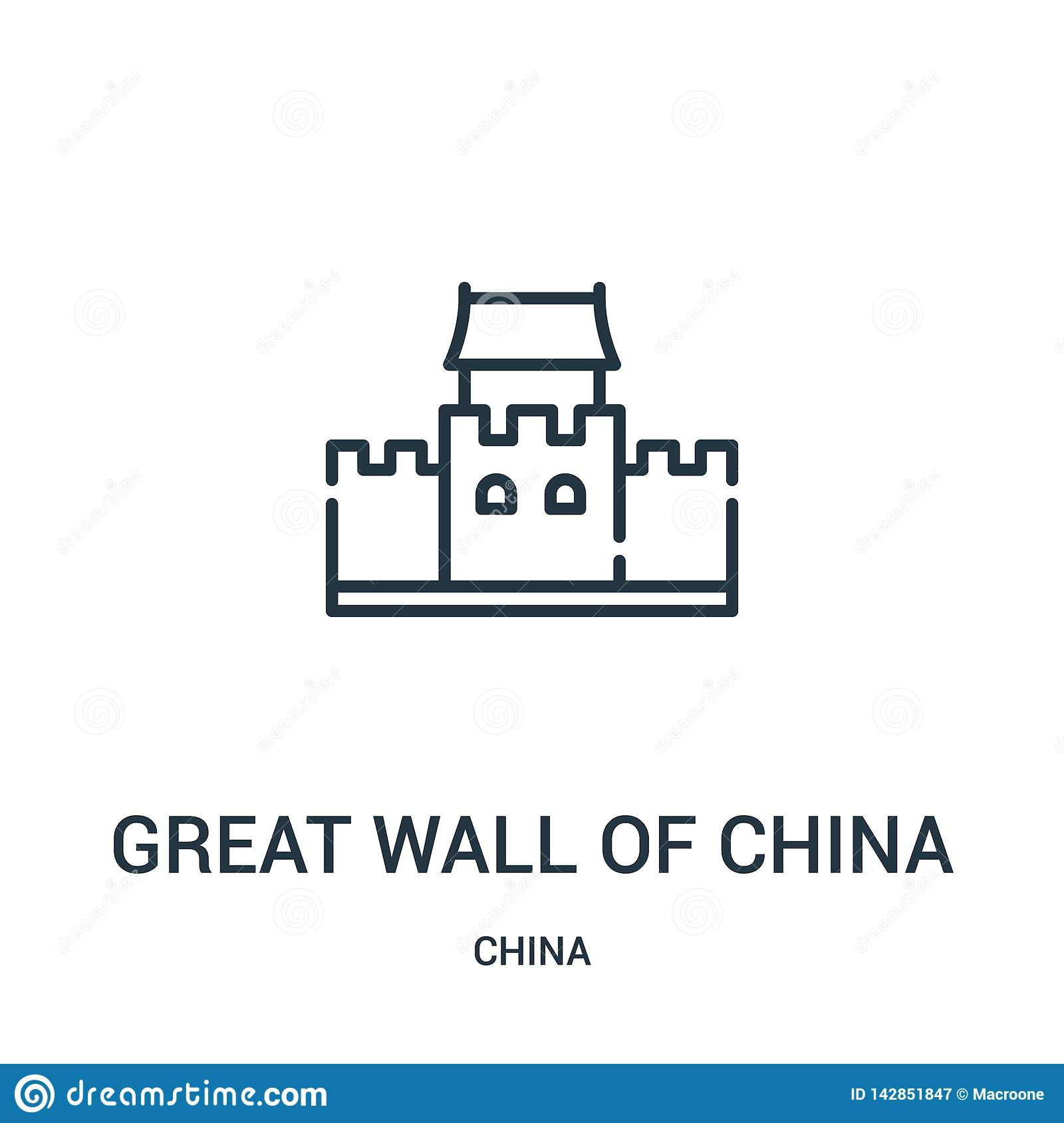 great wall of china icon vector from china collection. Thin line great wall of china outline icon vector illustration. Linear