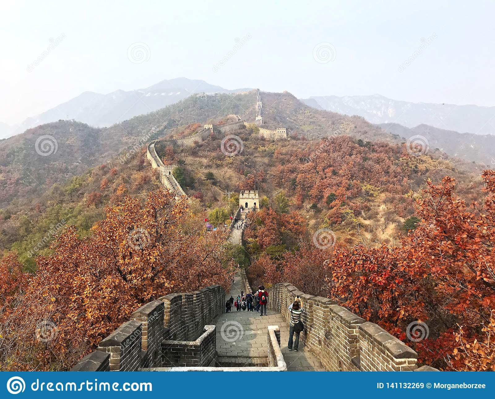 The great wall of China at Mutianyu section of the mountains.