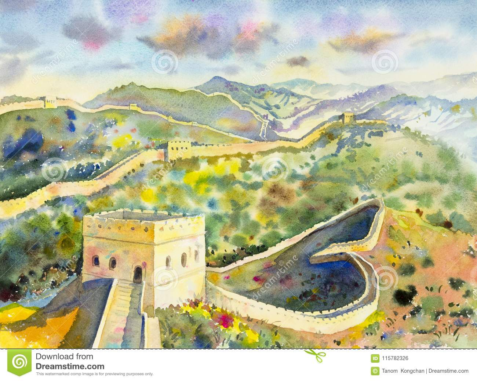 The Great Wall Of China At Mutianyu. Watercolor Painting Stock ...