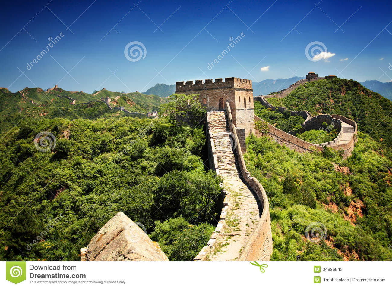 The Great Wall Of China Stock Image Image Of Brick Landscape