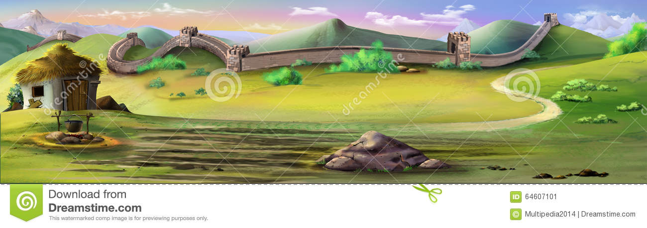 The Great Wall Of China. Panorama View Stock Illustration ...