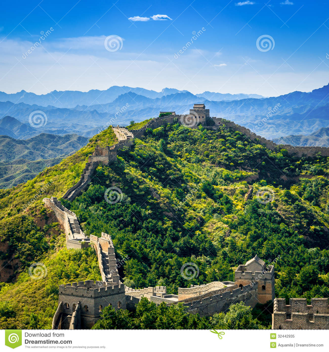Great Wall of China in summer day, Jinshanling section, Beijing