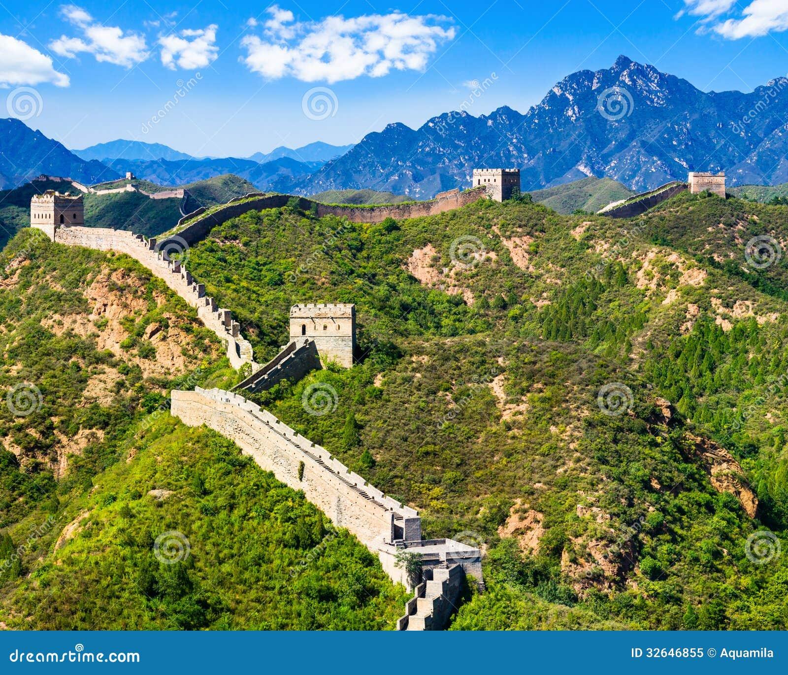 Great Wall of China on summer sunny day, Jinshanling, Beijing