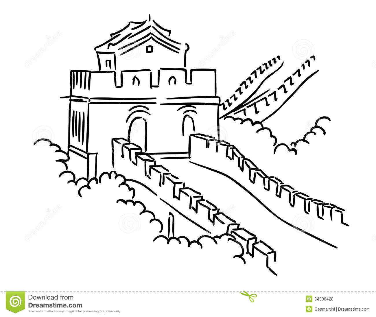 great wall of china printable coloring pages | Great Wall in China stock vector. Illustration of asian ...