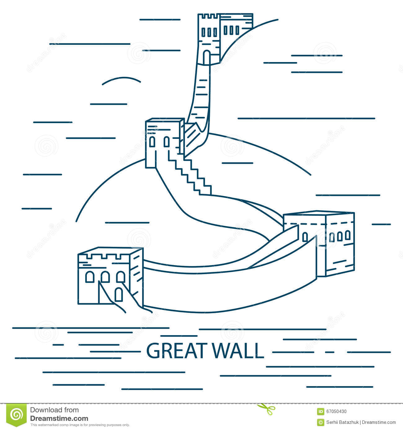 Line Art Illustration Style : Great wall of china trendy illustration line art style