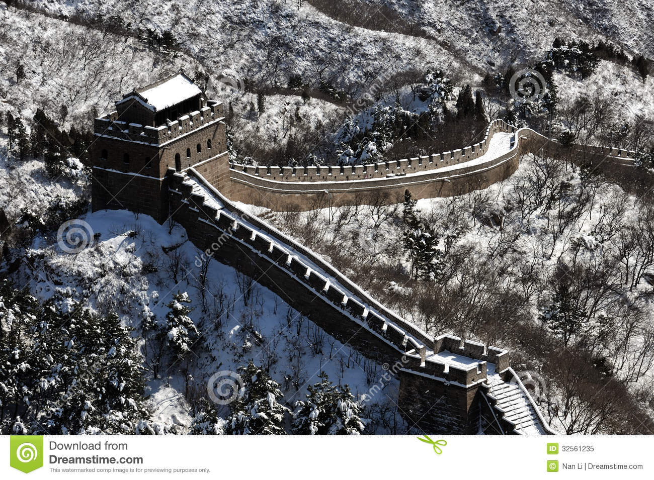 The great wall in winter white snow stock image