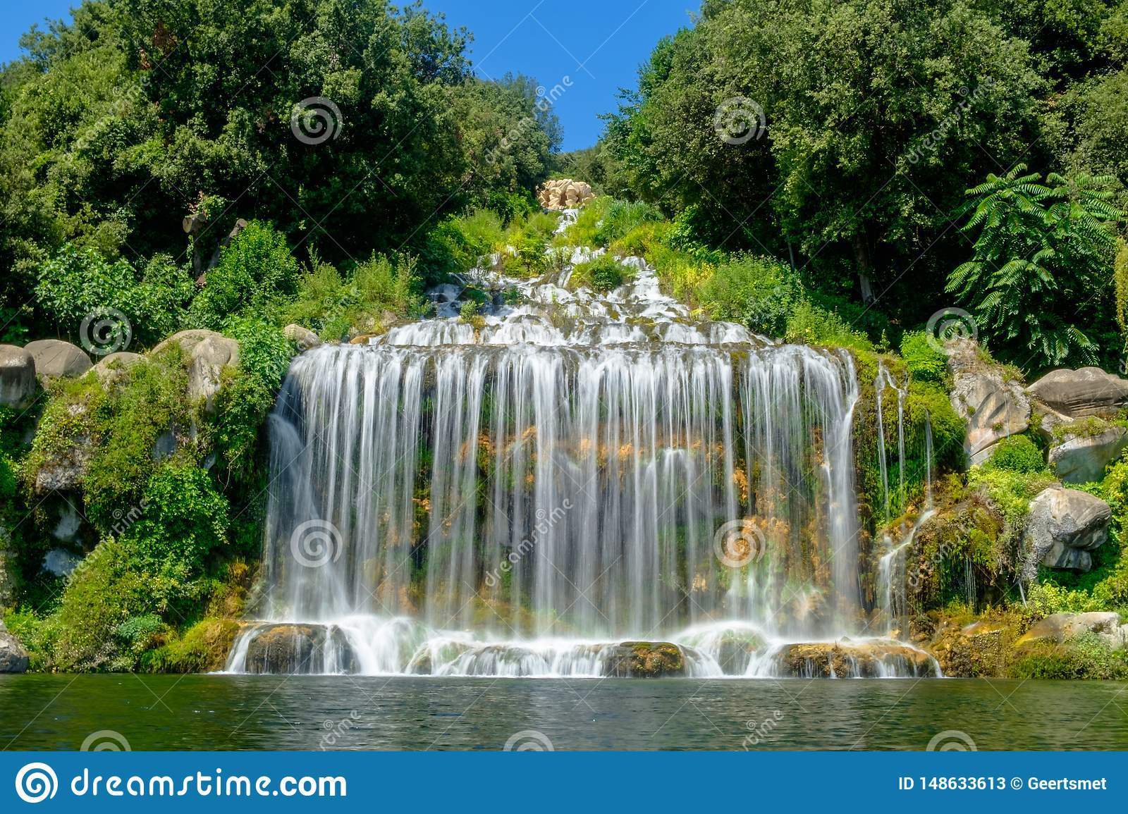 Great waterfall of the gardens of the Royal Palace of Caserta