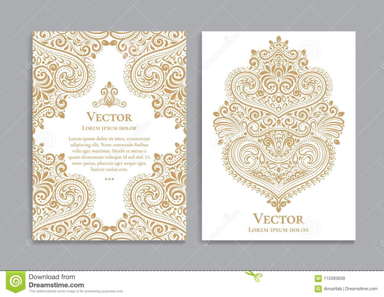 White Invitation Cards With Baroque Ornaments Stock Vector