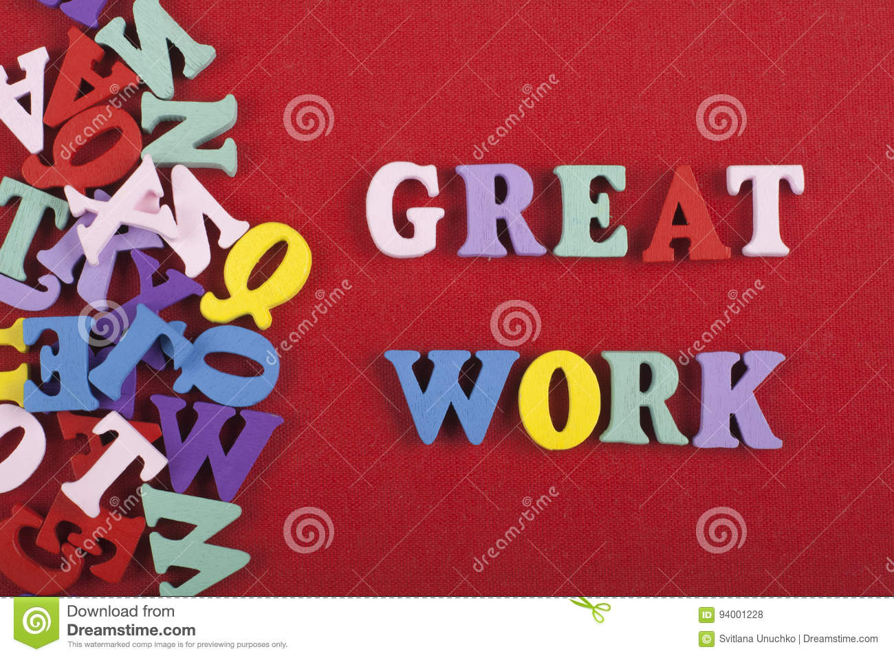 great work word on red background composed from colorful abc