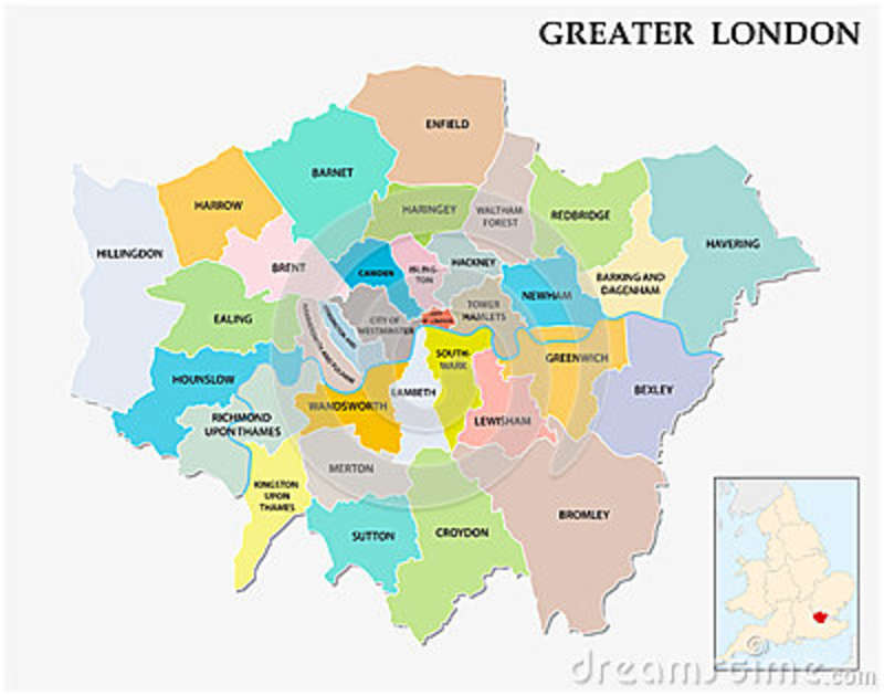 Greater London Administrative And Political Map Stock Vector