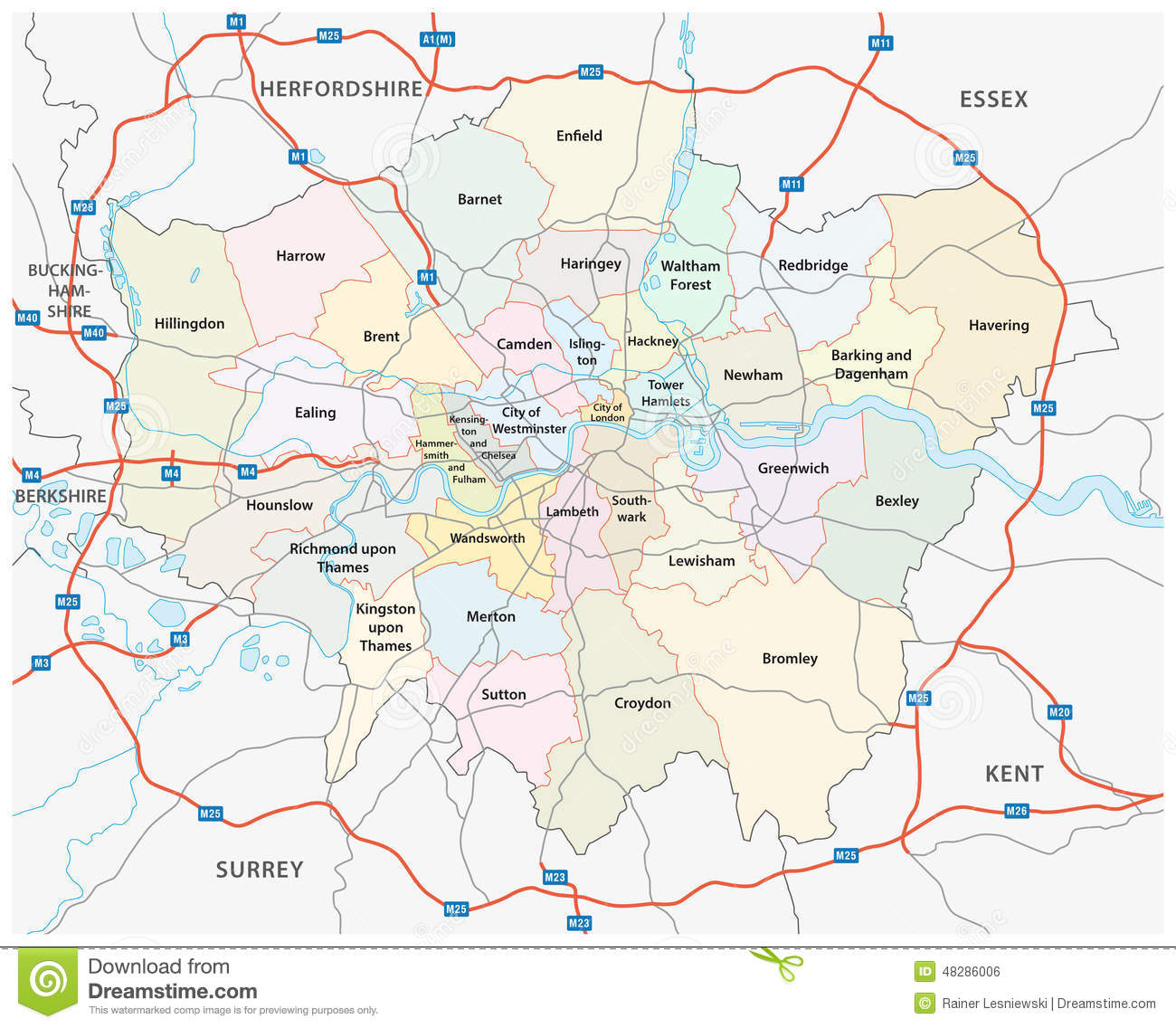 Greater London Road And Administrative Map Vector Image – Map of Greater London England