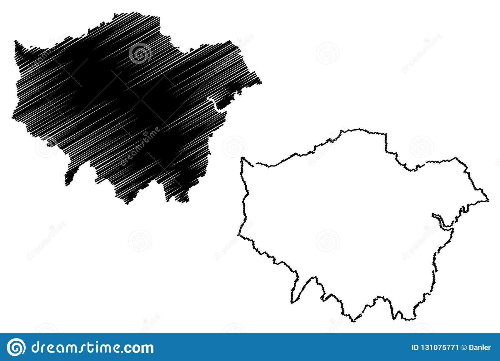 Greater London map vector stock vector. Illustration of area - 131075771