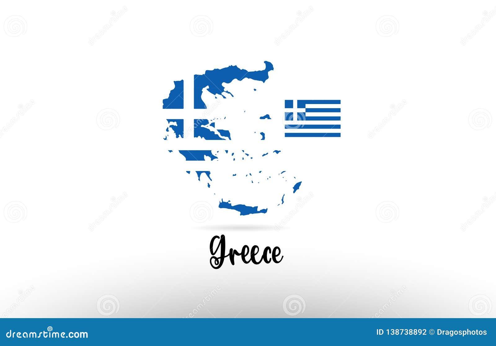 Grecja kraju flaga wśrodku mapa konturu projekta ikony logo