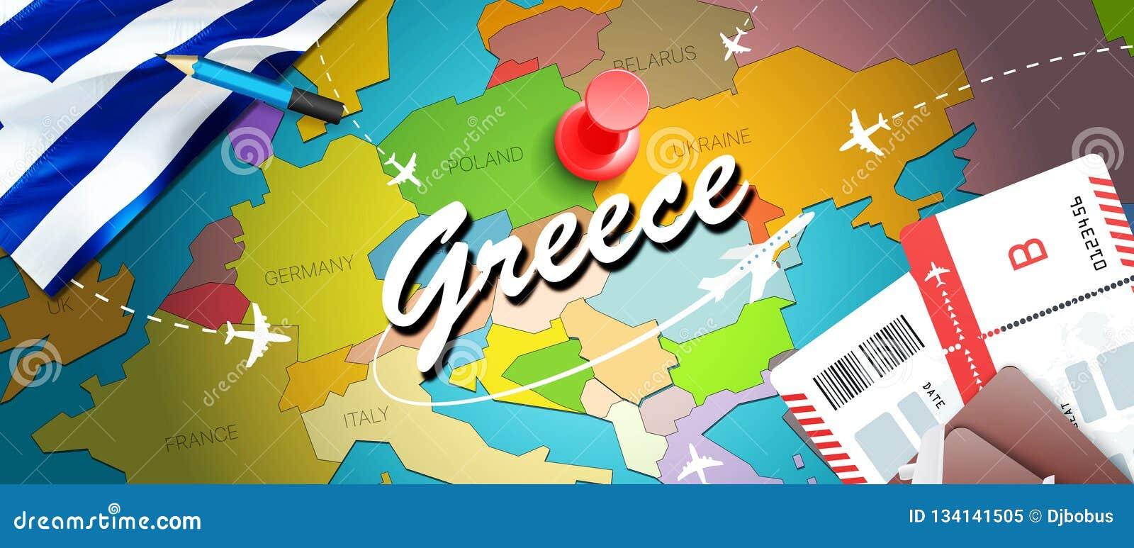 Grecja podróży pojęcia mapy tło z samolotami, bilety Wizyty Grecja podróż i turystyki miejsce przeznaczenia pojęcie Grecja flaga