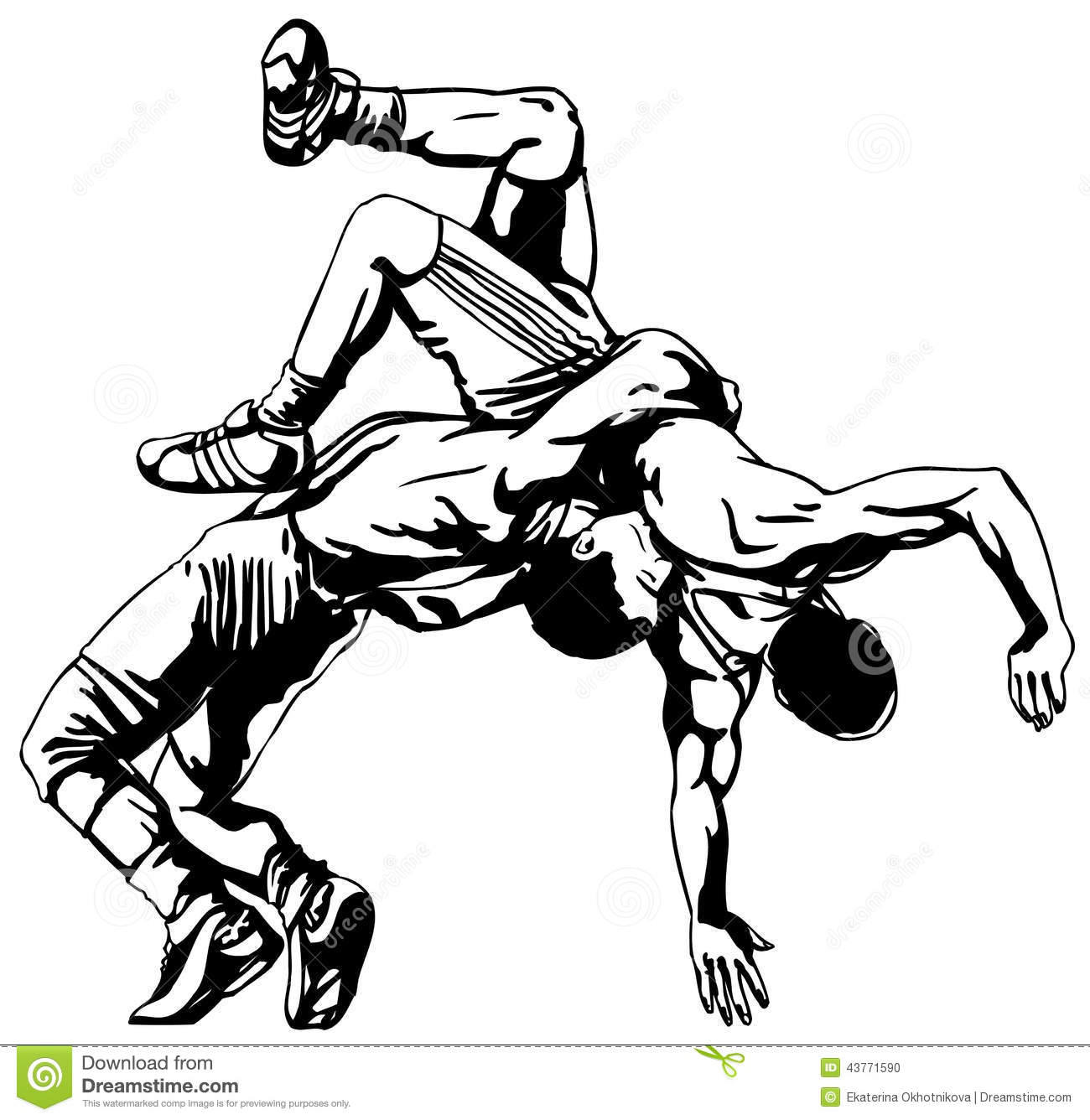 Line Art Action Photo : Greco roman wrestling stock vector illustration of