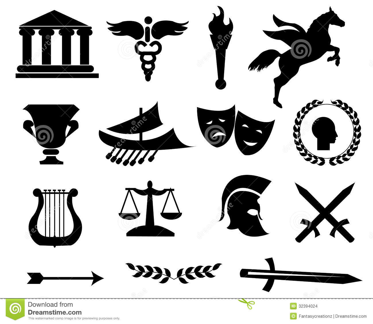 Greece Black Icons Stock Vector Illustration Of House 32394024