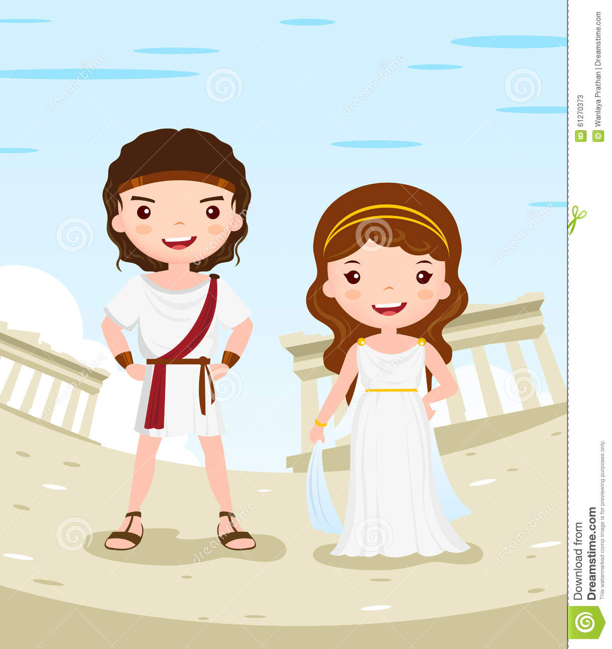 Greece costume history cartoon character couple in the ancient city