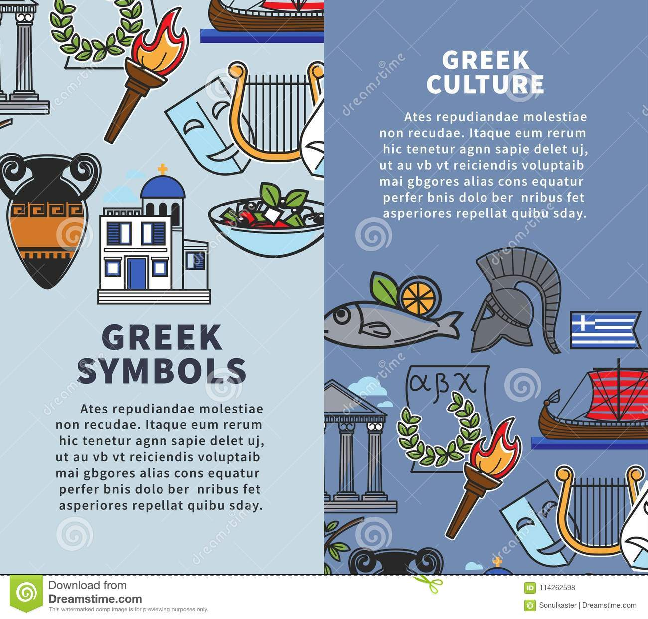 Greece Travel Posters Of Greek Famous Sightseeing Symbols And