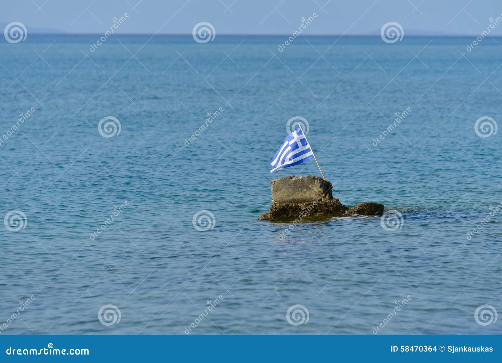 Greece flag in Aegean sea