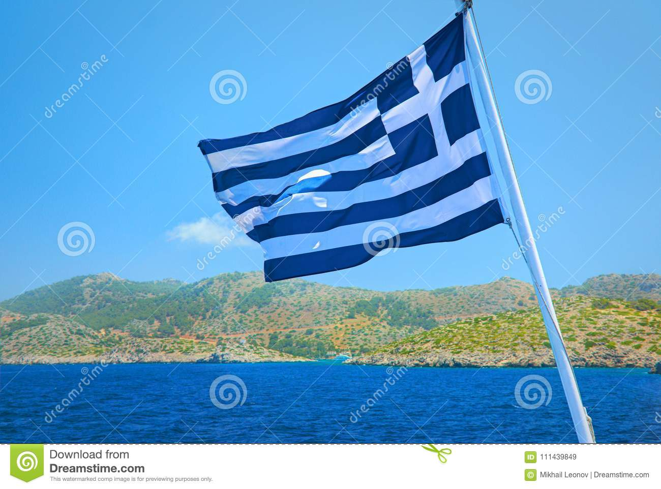 Greece Flag Consists Of Colors Blue And White Straps And White Cross