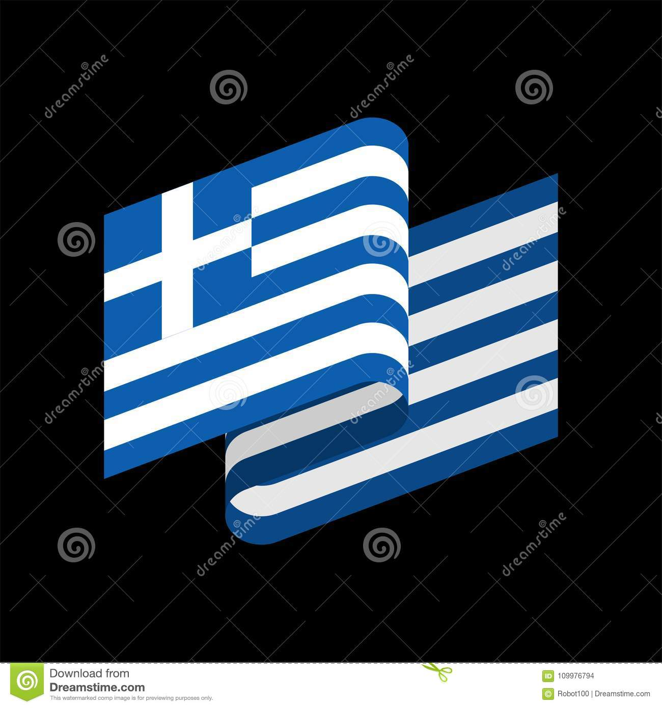Greece Flag Isolated. Greek Ribbon Banner. State Symbol Stock ...