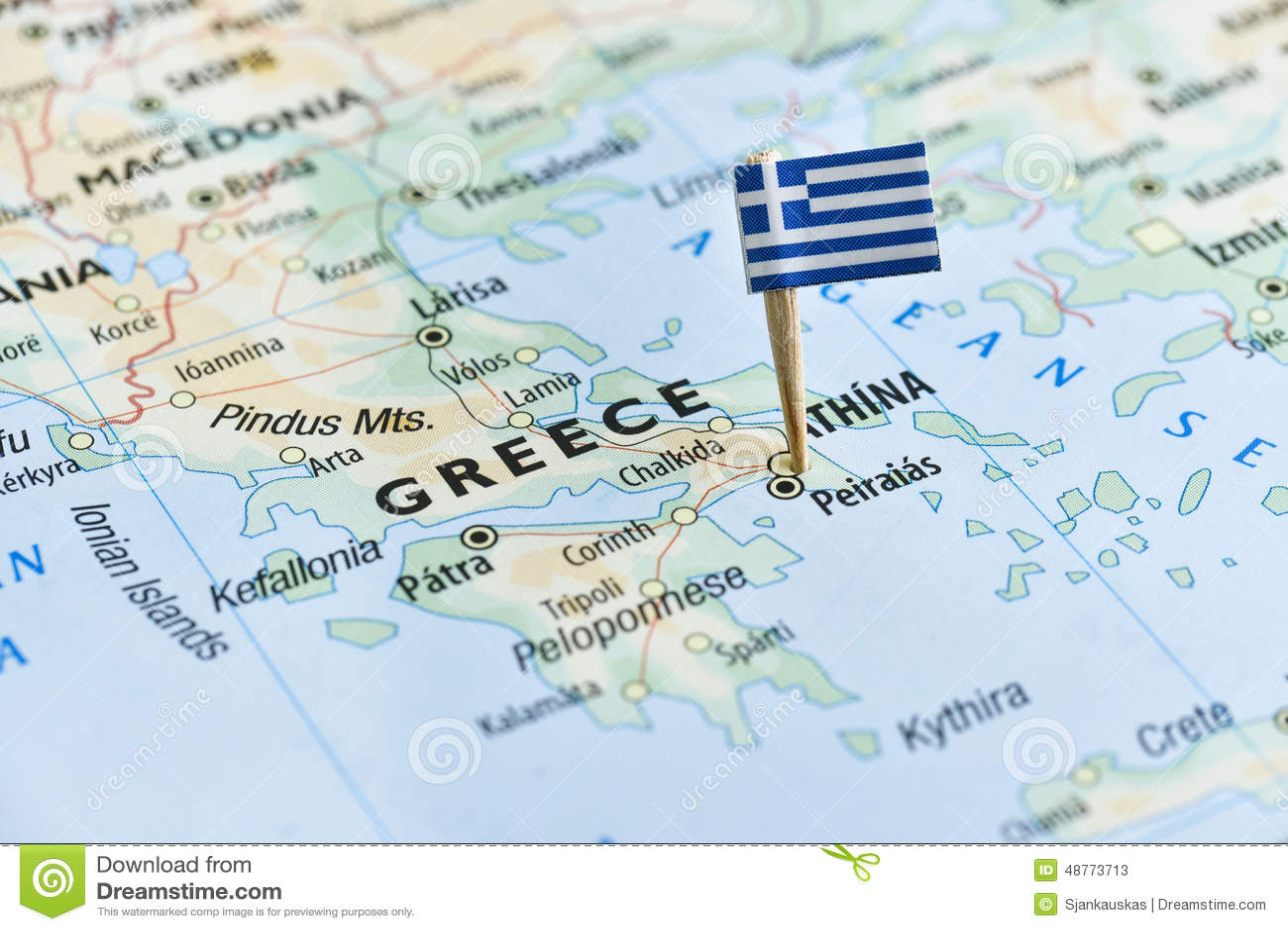Greece Flag Pin On Map Stock Image Image Of Season Geographical