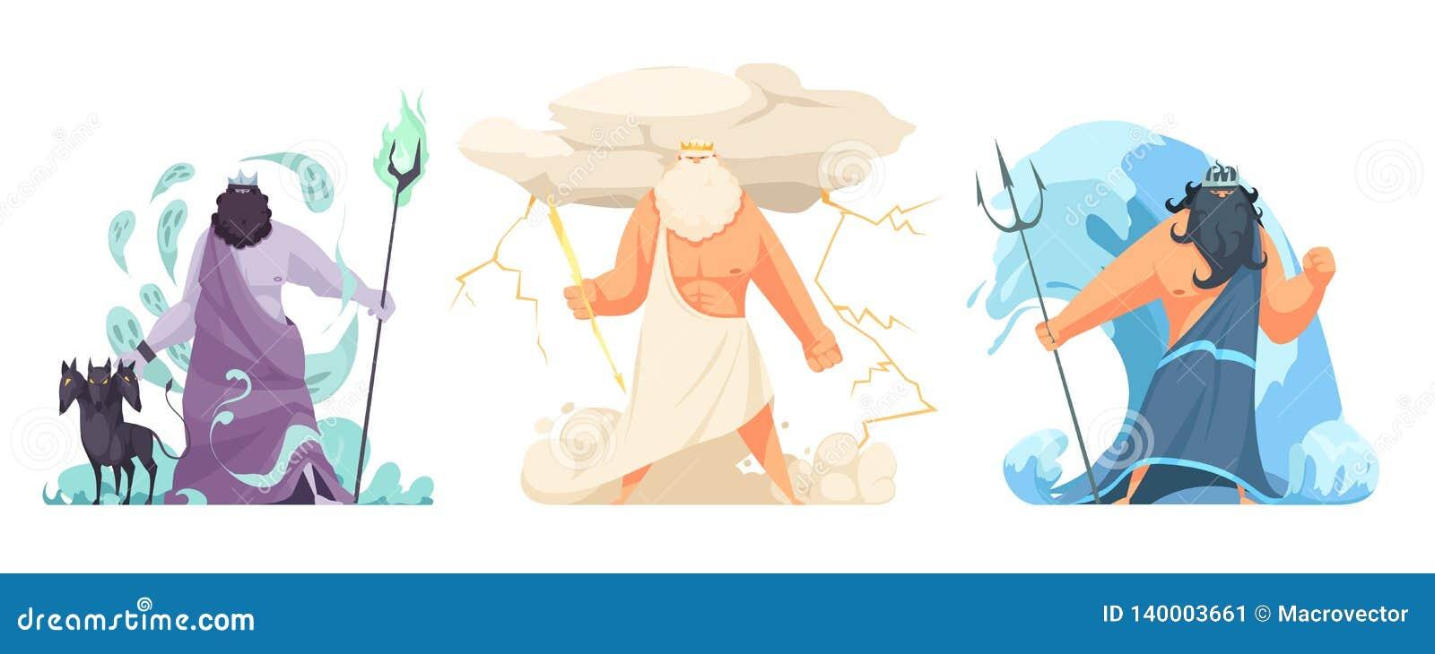 Greece Gods Horizontal Set stock vector  Illustration of