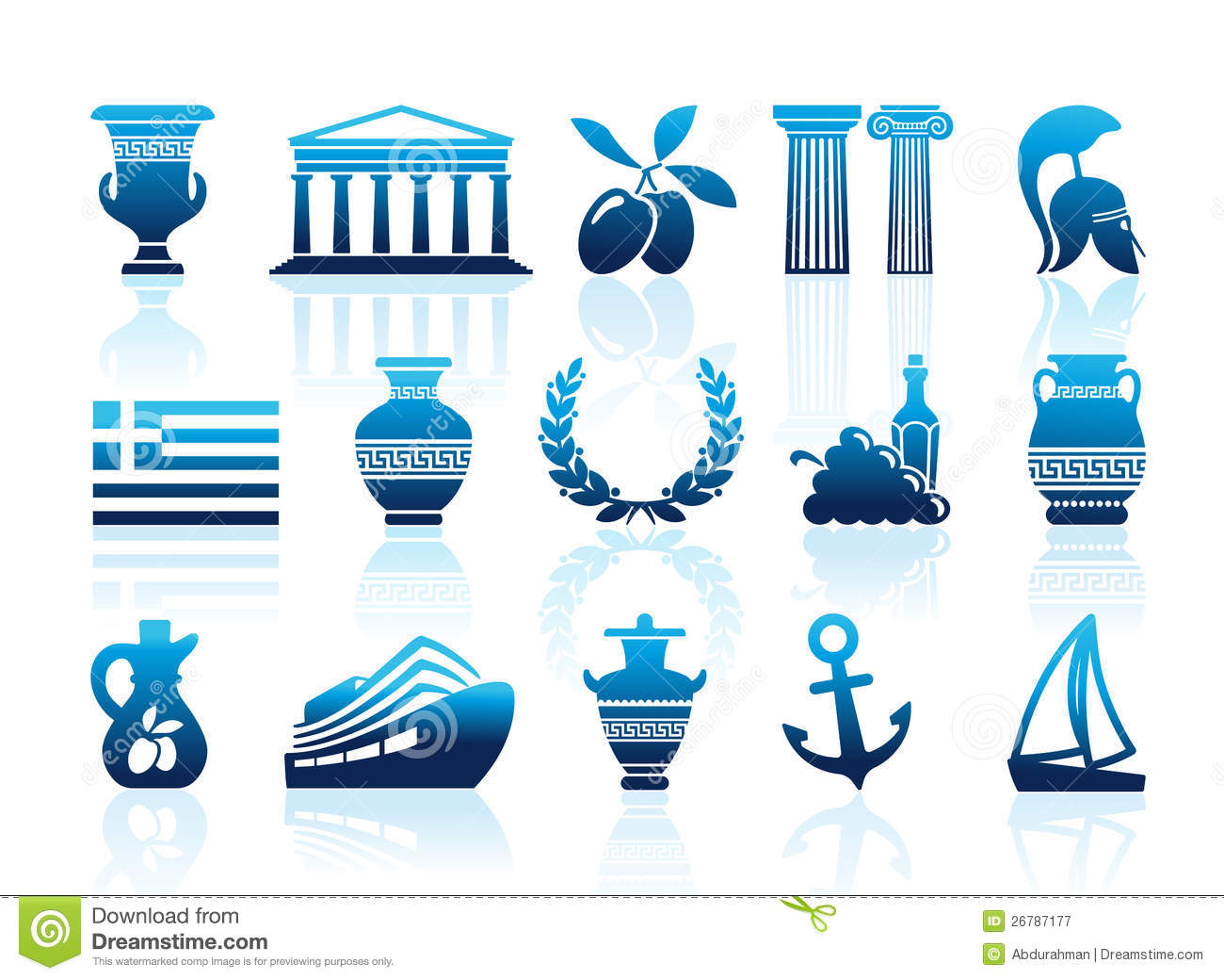Greece icons stock vector. Illustration of flag, container ...