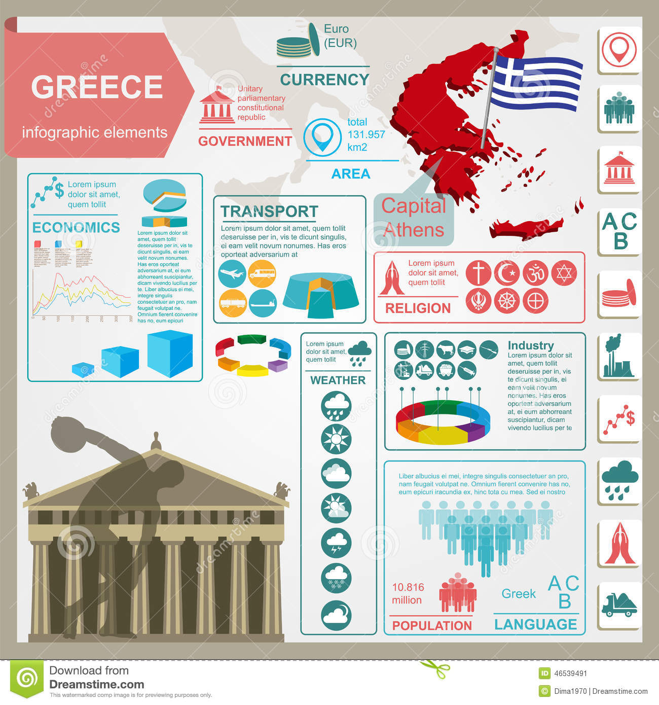 Unique European House Plans Greece Infographics Statistical Data Sights Stock Vector