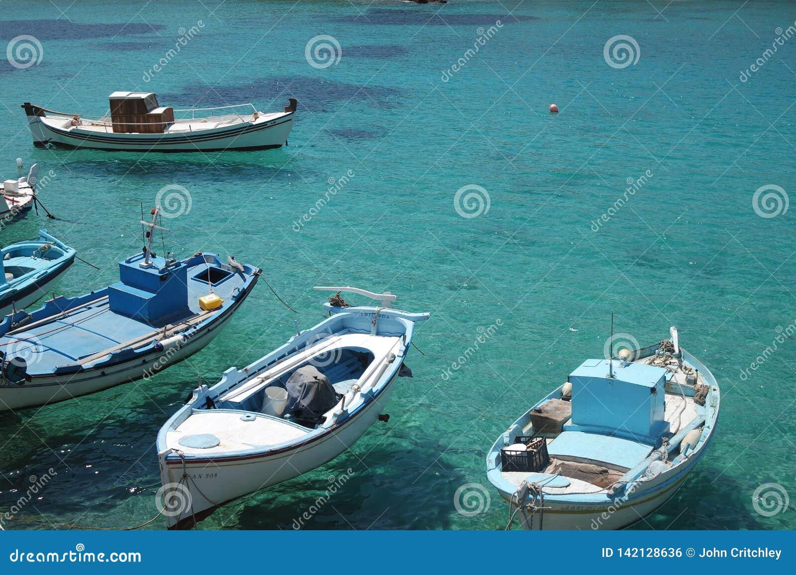 Greece, the island of Irakleia, fishing boats