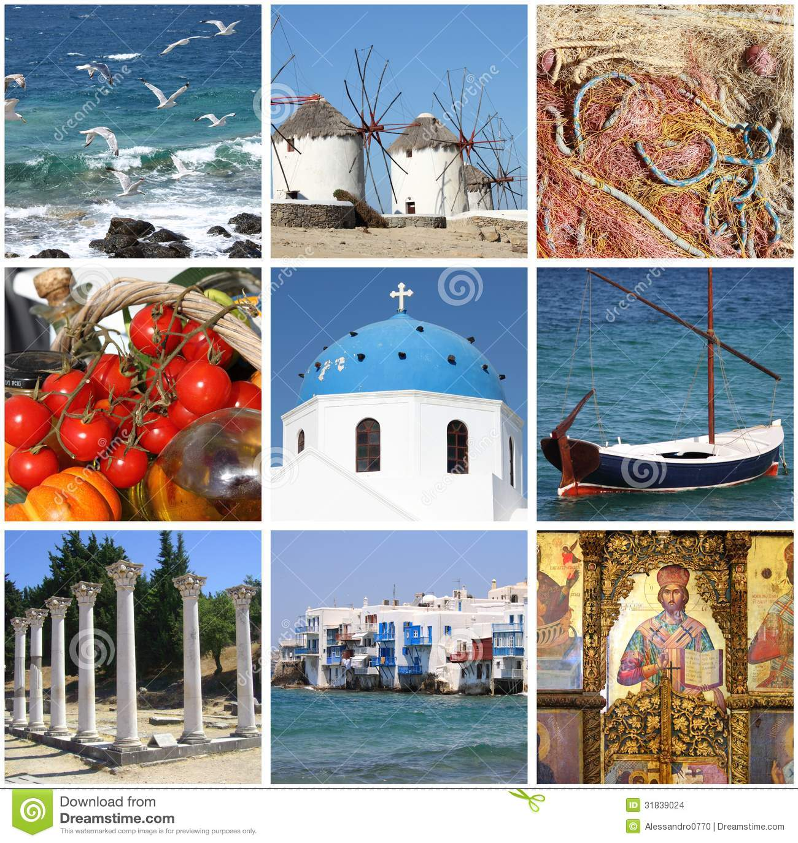 Greece Landmarks Collage Stock Images - Image: 31839024
