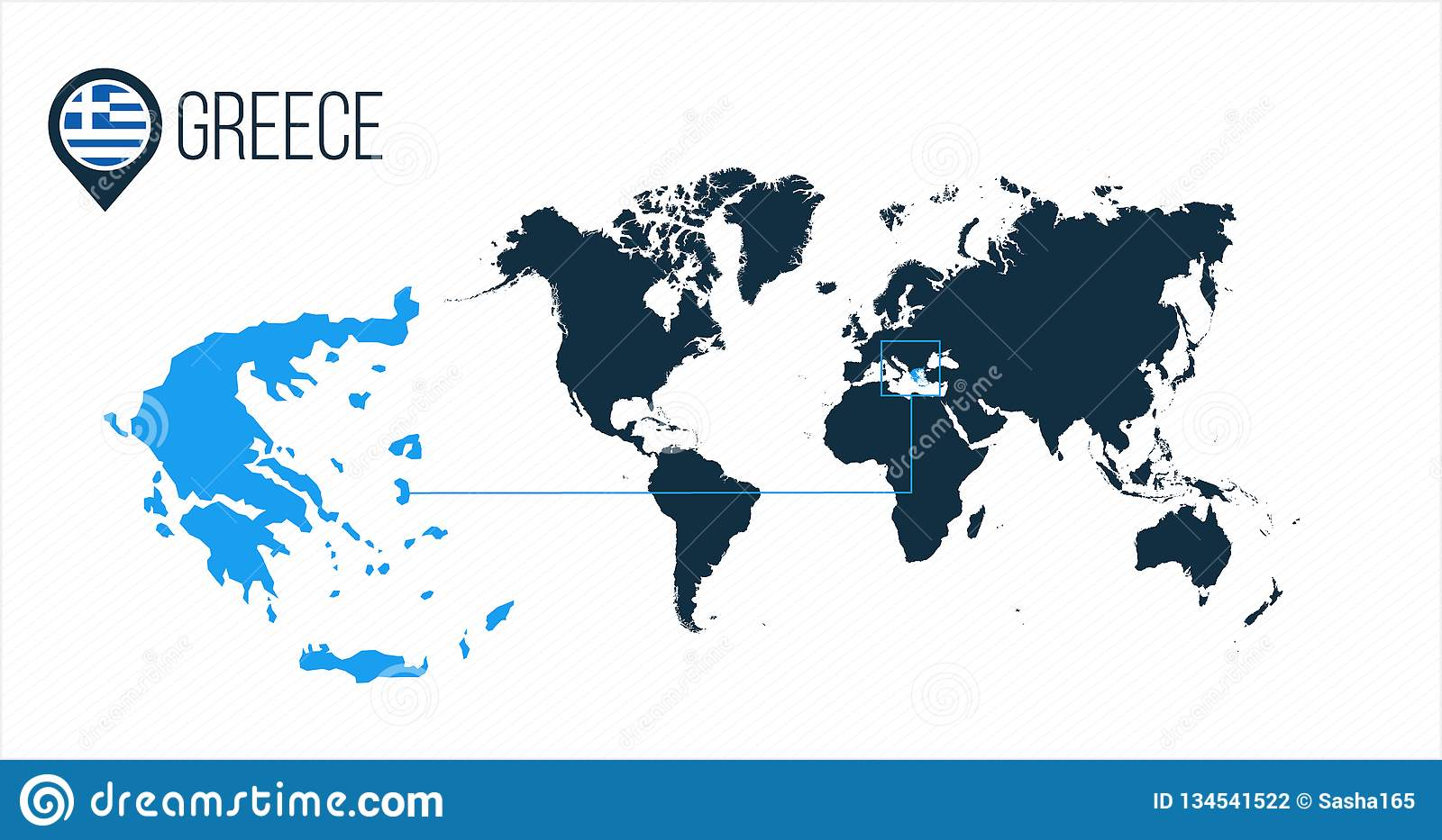 Greece Location On The World Map For Infographics. All World ... on