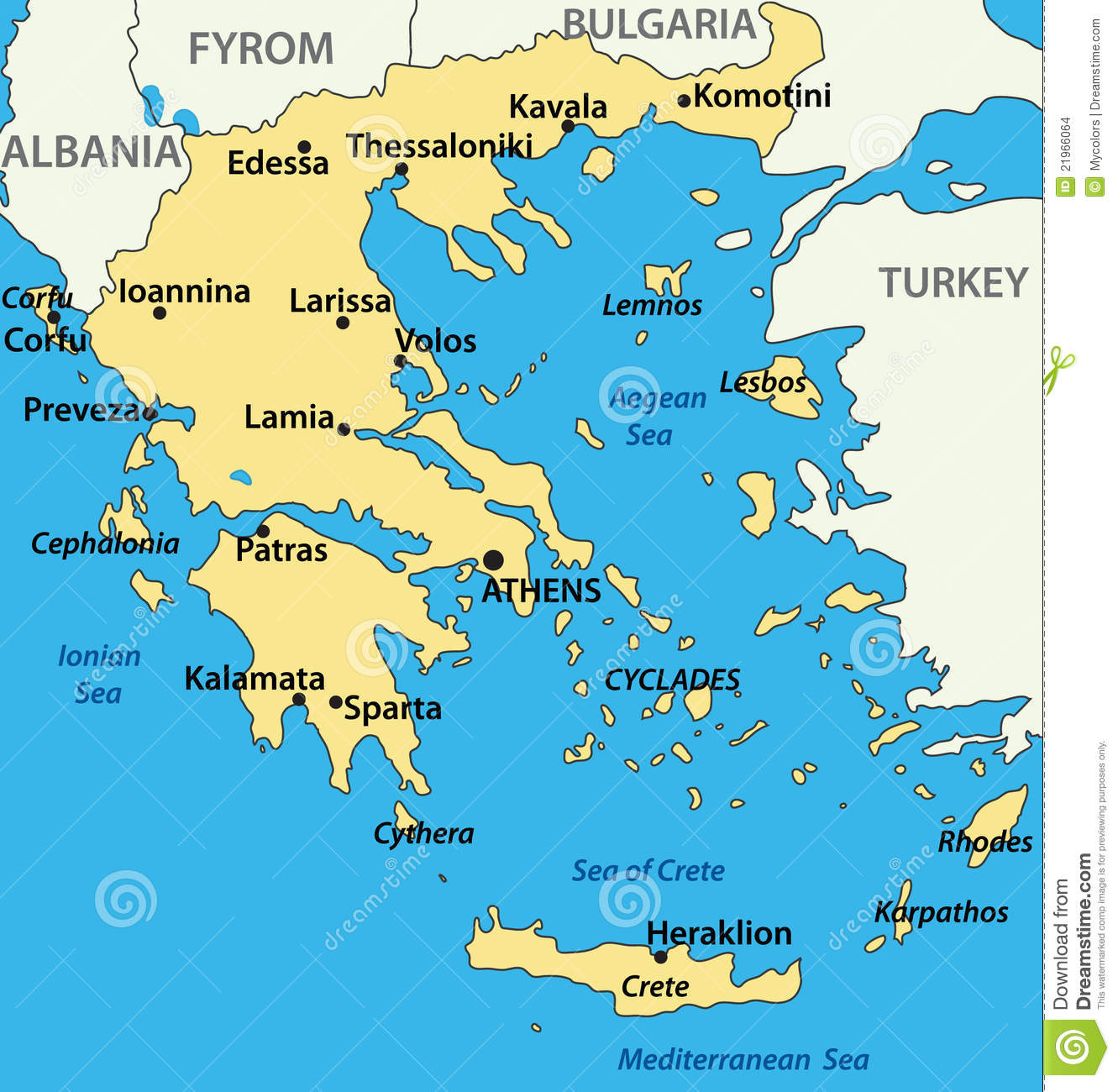 Country Of Greece Map.Greece Map Of The Country Vector Stock Vector Illustration Of