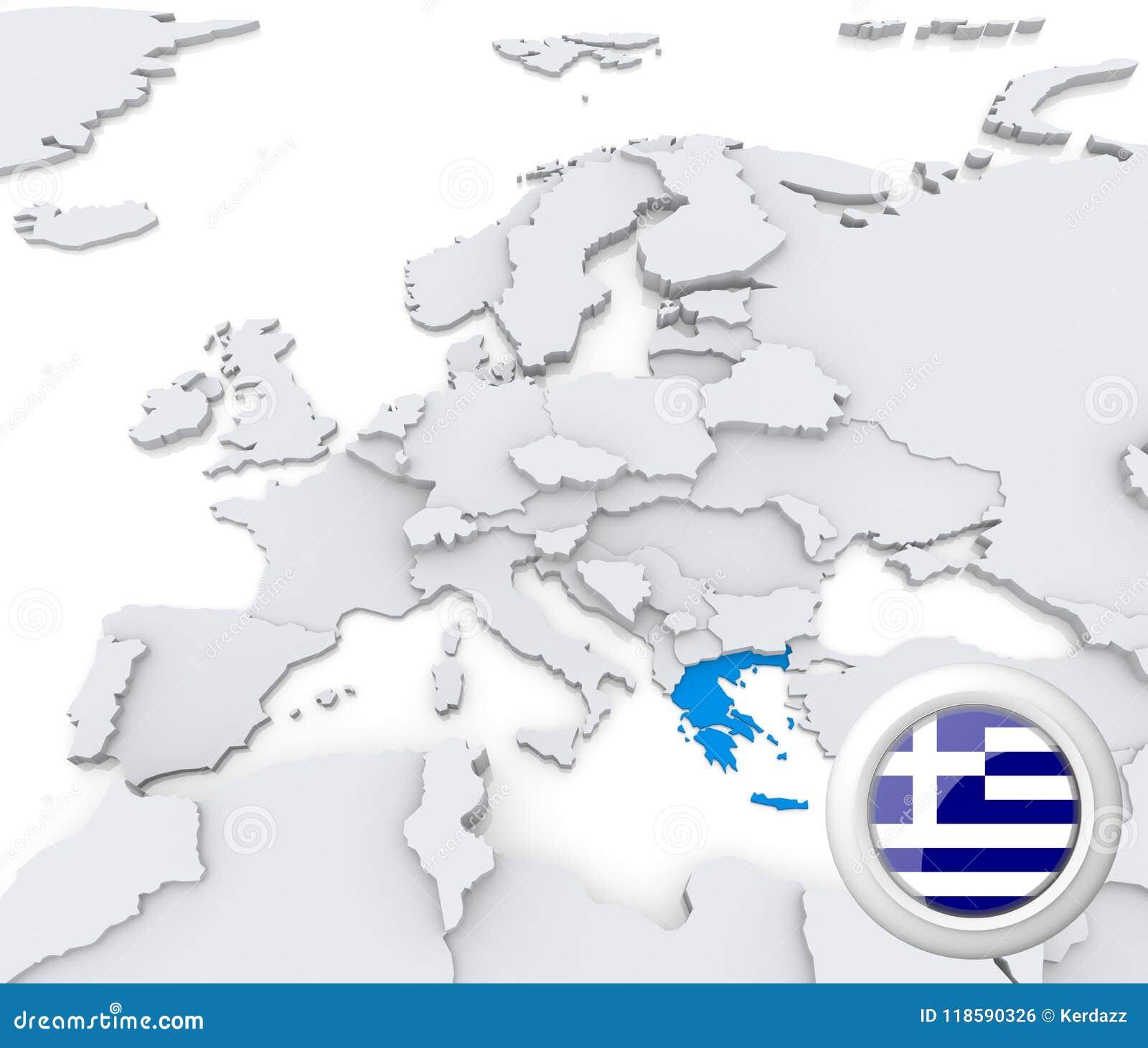 Greece Map Europe.Greece On Map Of Europe Stock Illustration Illustration Of Emblem
