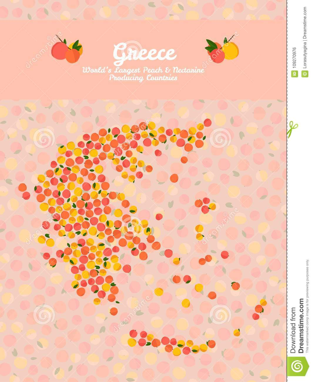 Greece Map Poster Vegan Card Pink Peaches Frame Stock Vector - Pink world map poster