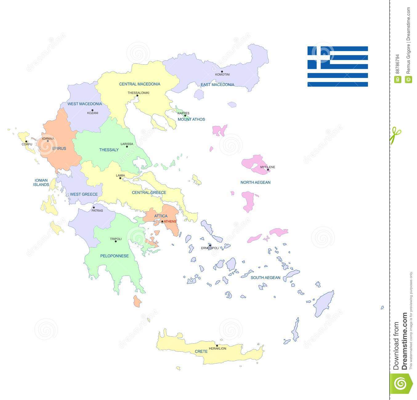Greece map cdr format stock vector Illustration of peloponnese