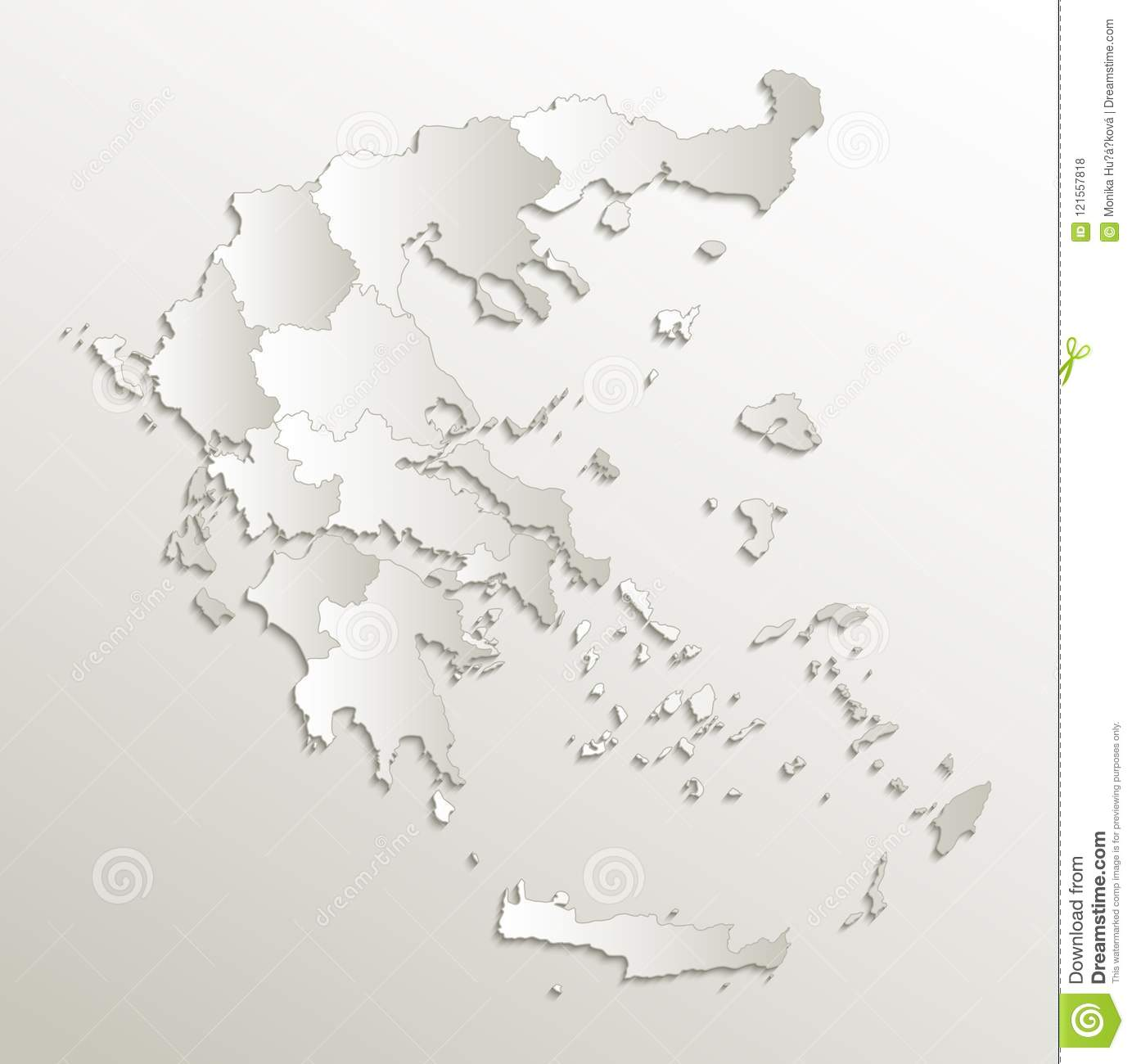 Greece Map Blank.Greece Map Separate Region Individual Blank Card Paper 3d Natural