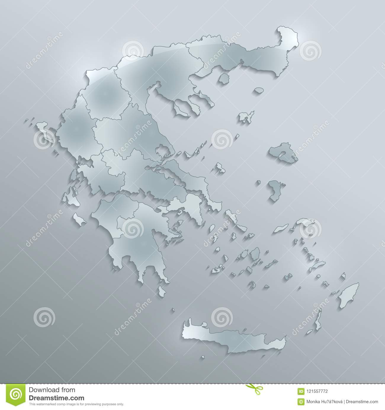 Greece Map Blank.Greece Map Separate Region Individual Blank Glass Card 3d Raster